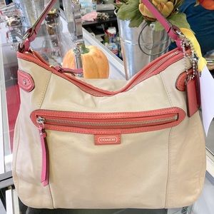 Coach tan and pink leather hobo bag
